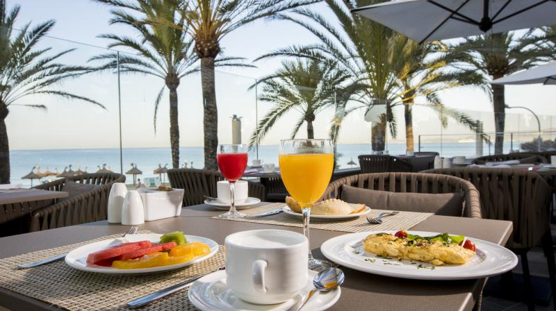 healthy breakfast with seaviews mallorca
