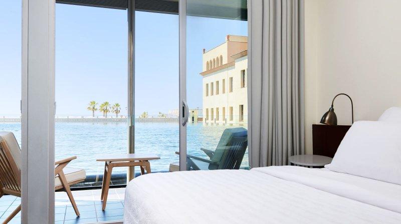 Bed room with sea view at Le Meridien Ra beach hotel