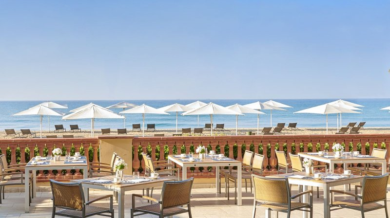 Restaurant la taula terrace with sea views from Le Meridien Ra Beach Hotel