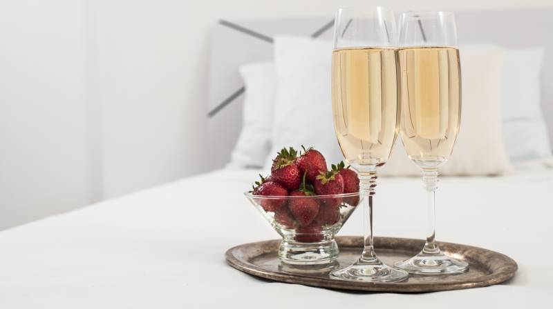 cava & strawberries